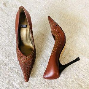Costa Blanca Studded Leather Heels
